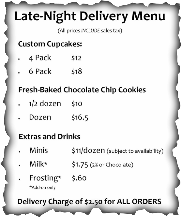Late Night Delivery menu